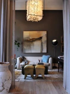 Cool Gray Walls help keep this 'softer' Decorating Style Handsome. Men, your Welcome, Ladies, take Note.