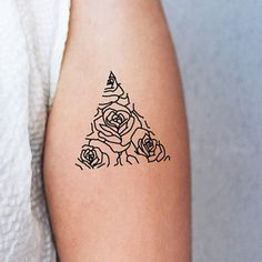 2017 trend Geometric Tattoo - 2 triangle temporary tattoos/ roses in a triangle / rose tattoo/ minimalist tattoo / geometric tattoo / floral tattoo