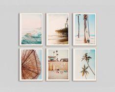 California Surf Art Set of 6 Prints Beach Wall Art Summer Prints Beach Poster Sunset Print Surfboard Wall Art Boho Beach Decor Coastal Print Coastal Wall Art, Beach Wall Art, Coastal Decor, Deco Miami, Surf Bedroom, Wall Art For Bedroom, Surf Theme Bedrooms, Deco Surf, Beachy Room