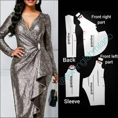 ENG➡️dear to draft the pattern of this dress, start from a basic block with darts. mirror the front and draw the neckline,… Fashion Drawing Dresses, Fashion Dresses, Dress Sewing Patterns, Clothing Patterns, Costura Fashion, Gown Pattern, Couture Sewing, Fashion Sewing, Sewing Clothes