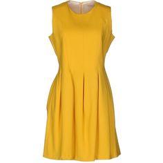 M.grifoni Denim Short Dress ($140) ❤ liked on Polyvore featuring dresses, yellow, mini dress, yellow dresses, short yellow dress, swing dress and yellow pleated dress