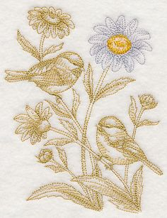 Daisy and Chickadees (Toile)