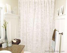 Hometalk :: $60 Bright Bathroom Makeover - floor to ceiling shower curtain