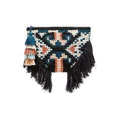 Cleobella Wren Clutch (910 MAD) ❤ liked on Polyvore featuring bags, handbags, clutches, cotton handbags, tassel purse, fringe purse, fringe clutches and macrame purse