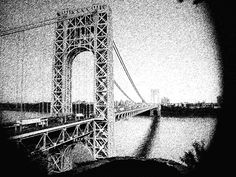 George Washington Bridge - black and white photo of the George Washington Bridge with a focal point. Vote for Kailyn. Fort Lee, Washington Heights, Hudson River, George Washington Bridge, New York City, Black And White, Cover, Creative, Travel