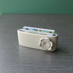 Pottery moo card holder