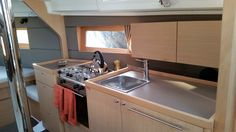 The galley area of the Beneteau Oceanis 35, during her interior accommodations review.