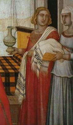 Perugia towels. Birth of the Virgin (1342) by Pietro Lorenzetti (1280-1348).  Museo dell'Opera Metropolitana del Duomo.