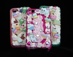 Decorated phone cases with Dress It Up Buttons, We LOVE Decoden! www.dressitup.com
