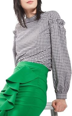 Petite Women's Topshop Gingham Mutton Sleeve Top