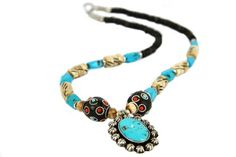 """Collier ethnique Udaipur""-Collier turquoise Indien"
