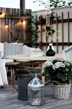 balcony decoration scandinavian flower fairy lights - Home Decor Ideas!