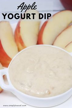 Apple yogurt dip is a great, healthy snack for home or on the go. Only 3 ingredients and lots of flavor. | Simply Low Cal @simplylowcal #appleyogurtdip #yogurtdip #snackrecipe #easysnackrecipe #healthysnackrecipe #simplylowcal