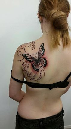 flower with butterfly tattoo - 50 Butterfly tattoos with flowers for women  <3 <3