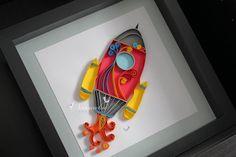 Paper Quilling Rocket Framed Wall art for kids room decor