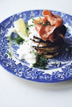 Potato Pancakes with Smoked Salmon, Dill and Creme Fraiche.