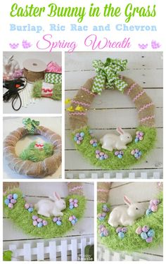 Easter Decorations 793759503054364456 - Easter Bunny in the Grass Burlap Ric Rac and Chevron Spring Wreath at The Happy Housie Source by Easter Projects, Easter Crafts For Kids, Easter Decor, Fun Projects, Wreath Crafts, Diy Wreath, Wreath Burlap, Burlap Ribbon, Jar Crafts