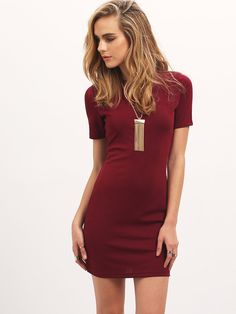 Robe moulante col rond -rouge bordeaux -French SheIn(Sheinside) Robe Rouge  Moulante fe41b2955cc0
