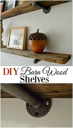 DIY Barn Wood Shelves Rustic barn wood shelves for any room in your house. A cheap and easy DIY project that would look great with industrial and farmhouse decor. - DIY barnwood shelves, with an industrial feel, for a guest bedroom - CHATFIELD COURT Rustic Decor, Farmhouse Decor, Rustic Barn, Farmhouse Design, Modern Farmhouse, Farmhouse Style, Rustic Elegance Decor, Barn Wood Decor, Cheap Home Decor