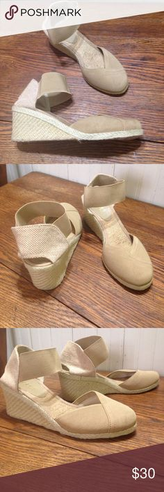 """LAUREN Ralph Lauren Charla espadrille wedge size 7 LAUREN Ralph Lauren Charla espadrille wedge,size 7, light tan color, fabric upper, elastic band at ankle, padded Foot bed,2.25"""" wedge heel, good condition Lauren Ralph Lauren Shoes Wedges"""