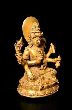"Balinese Gold Figure Of Vishnu - DA.699  Origin: Indonesia  Circa: 800 AD to 1300 AD  Dimensions: 4.5"" (11.4cm) high  Collection: Asian Art  Medium: Gold  Condition: Extra Fine"