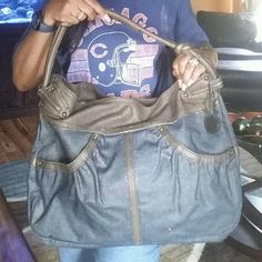 Stuart weitzman blue Jean hobo Trimmed in brown leather preowned condition, light staining on inside,  blue jean and leather trim, Stuart Weitzman Bags Hobos