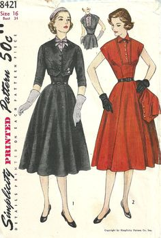 Simplicity 8421 Vintage 50s Sewing Pattern by studioGpatterns