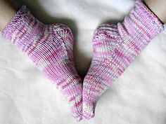 Hand Knit Womens Socks for Spring / Pink Purple and by Jaydees925, $17.00