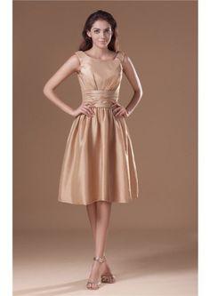 A-line Knee Length Zipper Taffeta Bateau Sleeveless Ruched Bridesmaid Dresses
