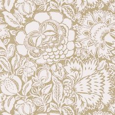 Poppy Damask Wallpaper A beautiful wallpaper with an informal damask of abstracted plants and flowers, shown in linen on a cream ground. The damask design has been printed to resemble woven fabric and is inspired by a 17th century hand painted resist dyed Indian chintz.