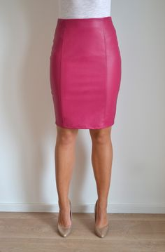 Faux Leather Pink Skirt - Dress Ala
