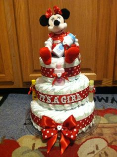 Newborn Minnie Mouse Diaper Cake | Minnie Mouse diaper cake;) | Disney baby shower