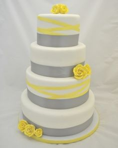 Beautiful! Grey and Yellow Ribbon Wedding Cake by angelia