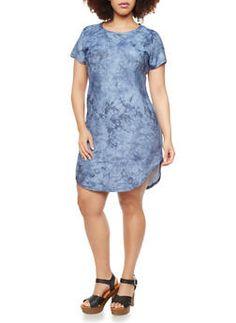 Plus Size Tie Dye Dress With Shirttail Hem,BLUE
