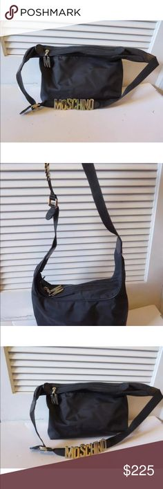 """Moschino Hand bag Authentic Moschino hand bag with gold """"Moschino"""" emblem. Gently worn, very good used condition with normal/light signs of use. Open to offers. Ships immediately Moschino Bags"""