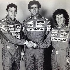 Ayrton Senna, Emanuel Pirro e Alan Prost.