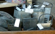 Cheese graters, located at Angela's Attic on Gardner Street in So. Beloit, Illinois.