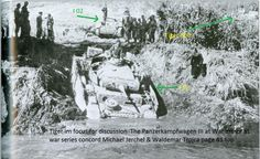 "7th Panzer Division with Pzkw III ""I01"" followed by ""I02"" , Tiger 300 of 503rd Schwere Pz. Abt. visible on right"