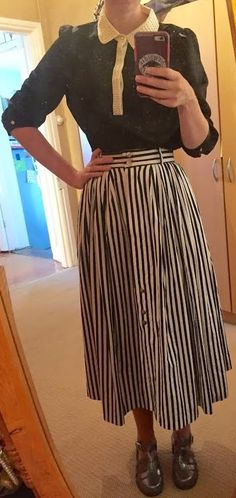 The Girl With Nothing to Wear: Navy blouse, striped skirt, work style, spring style