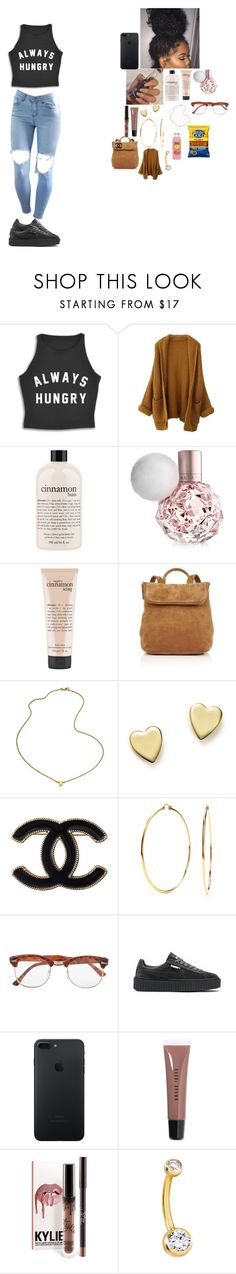 """~ school outfit ~"" by foodislyfe ❤ liked on Polyvore featuring philosophy, Whistles, Jennifer Zeuner, Bloomingdale's, Chanel, Nadri, Topman, Puma and Bobbi Brown Cosmetics"