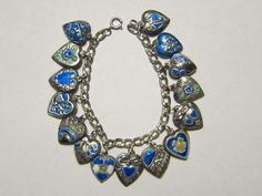 Vintage Sterling silver charm bracelet-15 enameled blue puffy heart charms  | eBay