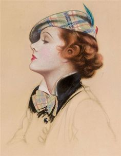 Classic vintage illustration, tartan beret and bow by Charles Gates Sheldon 1889-1960