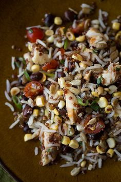 Smoky Southwestern Red Quinoa and Rice Salad with Grilled Chicken, Black Beans, Corn, Tomatoes, and Cilantro with a Tangy Honey BBQ Vinaigrette