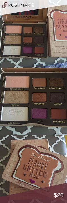 Too Faced Peanut Butter and Jelly Pallet LE Lightly used, see pictures. Especially bananas, the other shades have hardly been touched at all, ordered brand new from the Too Faced website. Comes with box Too Faced Makeup Eyeshadow
