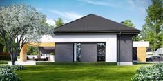 Find home projects from professionals for ideas & inspiration. Projekt domu HomeKONCEPT 27 by HomeKONCEPT Contemporary House Plans, Modern House Design, Beautiful House Plans, Beautiful Homes, House With Porch, Home Fashion, Home Projects, Planer, Exterior