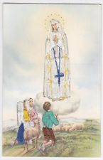 Our Lady of FAtima Stitched Embroidered Spanish Postcard