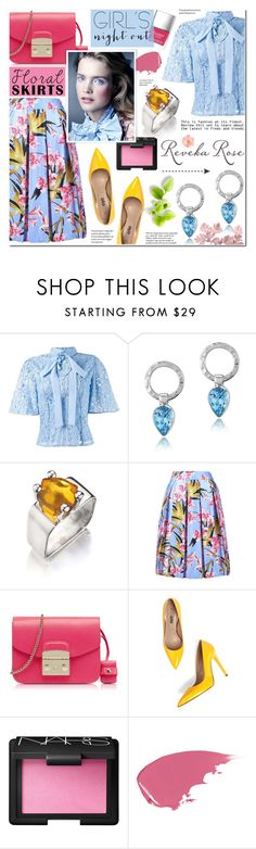 """Girls' Night Out: Summer Edition-Floral Skirt-Reveka Rose 2"" by anyasdesigns ❤ liked on Polyvore featuring Martha Medeiros, Furla, NARS Cosmetics, Hourglass Cosmetics, Butter London and Tiffany & Co."