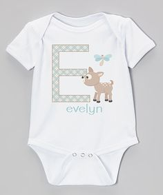 Look at this White & Teal Deer Personalized Bodysuit - Infant on #zulily today!