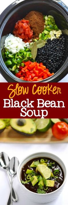 Food recipe Slow Cooker Black Bean Soup - delicious and easy weeknight dinner. A meatess & vegan recipe that everyone loves! My meat-loving husband went Slow Cooker Recipes, Crockpot Recipes, Soup Recipes, Cooking Recipes, Recipies, Bratwurst Recipes, Kid Recipes, Recipes Dinner, Lunch Recipes