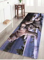 Wolf Animal Coral Velvet Large Area Rug